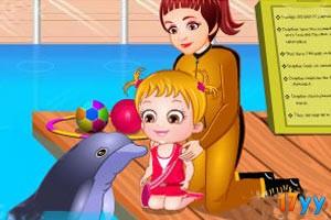 可爱宝贝看海豚表演