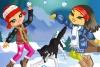 打雪仗的女孩们